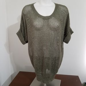 Chicos Green Heather Open Weave Sweater Size 2 L